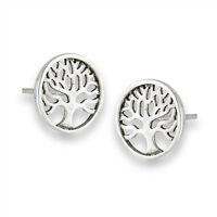 Post Tree Of Life Round Sterling Silver Minimalist Stud Branch Circle Earrings