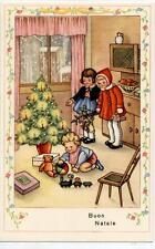 Serie Completa di 6 cartoline Bambini Natale Giocattoli Bambola PC Circa 1940