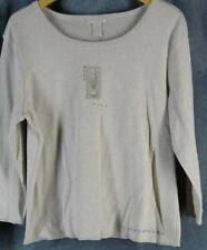 J Jill Large 3/4 Sleeve Tan Beige Knit Top Shirt Embroidery