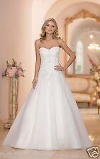 NEW Elegant A-line white/ivory Lace Wedding Dress Bridal Gown Custom Size