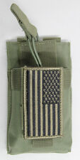 Green MOLLE Radio Pouch + USA FLAG Patch Fits Baofeng UV5R UV5RA UV82 F8HP GT3TP