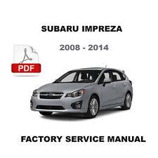 SUBARU 2008 2009 2010 2011 2012 2013 2014 IMPREZA ULTIMATE OEM SERVICE MANUAL