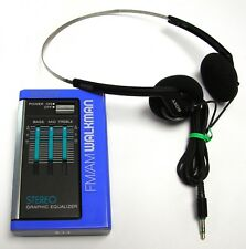 RARE VINTAGE - SONY WALKMAN FM/AM RADIO SRF-35W BLUE WITH EQUALIZER