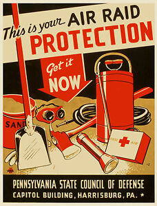 1950s Civil Defense Poster Air Raid Protection Pennsylvania  13 x 19 Print