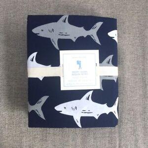 NEW pottery barn kids preppy shark Queen duvet covet only, Navy grey white Ocean