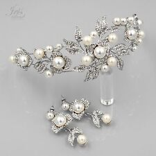 Pearl Crystal Headband Headpiece Tiara Earrings Bridal Wedding Jewelry Set  5454