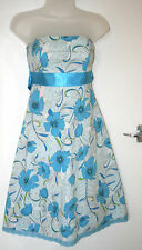 Jane Norman UK8 EU36 blue floral strapless dress in stretch cotton with lace hem