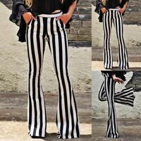 US Striped High Waist Flare Women Wide Leg Chic Trousers Bell Bottom Yoga Pants