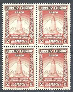 Ecuador 1939 Sc# C80 Airmail Empire State building Mountaun block 4 MNH