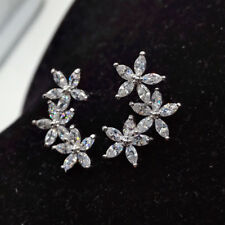 18k White Gold GF Star Earrings made w/ Swarovski Crystal Marquise Stone Trendy