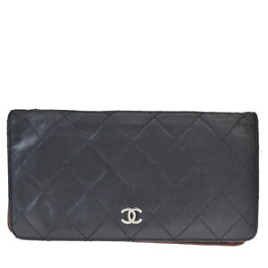 Authentic CHANEL CC Logo Long Bifold Wallet Leather Black France Vintage 67MH633