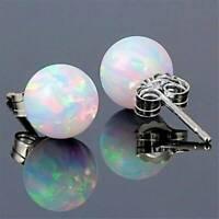 Charm 925 Silver Round Fire Opal Stud Earrings Wedding Birthstone Jewelry Gift