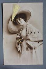 R&L Postcard: Glamour Fur Coat Hat Portrait of Pretty Lady, Applied Decoration