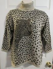 VTG ADELE KNITWEAR Women's LARGE Leopard Acrylic Tunic Sweater Turtleneneck USA