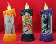 "Light Up Candle Halloween Black Orange Purple Window Table Decor 6"" Set 3 Gift"