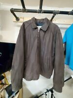 LONDON FOG TOWNE MEN'S BROWN GENUINE LEATHER JACKET, ZIP, X Large