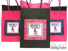HEN PARTY BAG *FILLED*  GLITTER EFFECT PERSONALISED GIFT BAGS FAVOUR ACCESSORIES