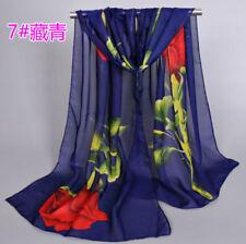 New Fashion Women Ladies Chiffon Floral Scarf Soft Wrap Long Shawl 160CM