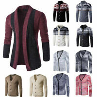 Men Autumn Winter Warm Cardigan Knit Sweater Jacket Knitwear Coat Blazer Outwear
