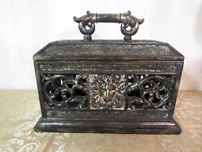 Lion Decor Ornate Mosiac Tile Scoll Box w/ Lid Antique Black Gold Tone