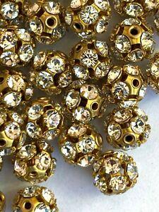 RB39 - 25 Set w/ Swarovski Rhinestones - Rhinestone Ball Beads - Crystal -  8mm