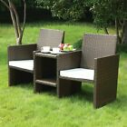 2 Seater Rattan Chairs Patio & Garden Furniture Love Seat With Table - 0240