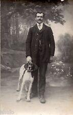 BL562 Carte Photo vintage card RPPC Homme chien dog mode fashion décor studio