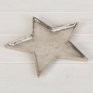 Rustic silver Christmas star candle dish, plate, serving dish, in 2 sizes