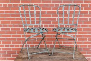 Set of 2 French Spring Seats, Art Deco Antique Sunburst Folding Chairs Patio
