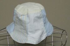 Unisex Gymboree 0 6 month blue white and yellow striped floppy sun hat