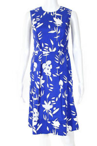 Marni Womens Cotton Floral Print Pleated Front A-Line Dress Blue White Size 38