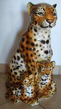 XXL Léopard Mama mit 2 Bébés Céramique 56 cm Fait à la main Italien Animal fort