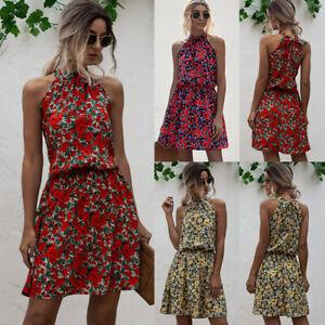 Womens Summer Dress Ladies Halter Neck Printed Sundress Holiday Beach Party BOHO
