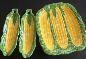Corn On The Cob Serving Dishes Set Of 3 PcsKitchen vintage Large With 2 Cradles