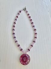 Necklace With Glass Art Pendant Pink Purple Glass Crystal Bead