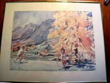 "Vintage 1976 Print by Cecil Ryden Johnson ""Tennis at the Broadmoor"" Framed"