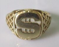 """Secondhand 9ct yellow gold dollar """"$"""" sign oblong signet ring size Q"""