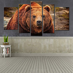 5 Piece Wall Art Painting Grizzly Bear Prints On Canvas The Picture Animal