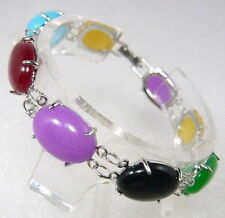 Multi-Color Purple Red Blue Yellow Green Jade Black Agate WGP Bangle Bracelet