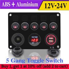 Inline Fuse Box LED 5 Gang Rocker Switch Panel 2 USB Charger Socket Boat Marine