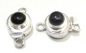1 PC ROUND BLACK ONYX BOX CLASP 1 STRAND STERLING SILVER PLATED 751 VTR-109