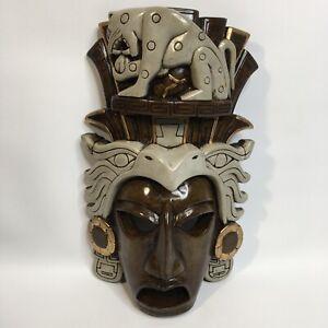 Ceramic Tiki Fask Face Wall Hanger Art Clay Decor Home Decoration Collectable