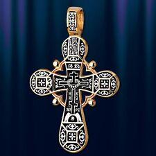 Russische Kreuz  Silber 925 Gelbgold vergoldet 999° Anhänger Голгофский Крест