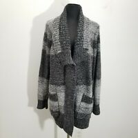 Chicos Womens Sweater Cardigan Sz 3 Striped Ombre Knit Open Front Gray Ribbed XL