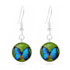 New butterfly Tibet Silver Dome Photo Art 16MM Glass Cabochon Long Earrings~197