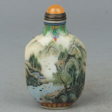 Chinese Exquisite Hand Painted Natural landscape pattern Glass snuff bottle