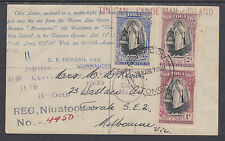 Tonga Sc 70-72 on 1939 Registered Tin Can Mail Cover to Australia
