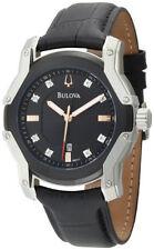 Bulova 98D117 Tonneau Diamond Luminous Black Dial Leather Strap Date Mens Watch