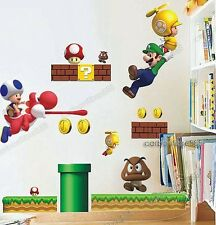 Large SUPER MARIO Kids/Boy/Nurse​ry Room Game Wall Stickers Reusable&Transparent