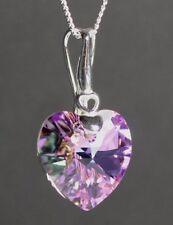 Echt Silber 925 Herz-Kette mit Swarovski® Kristall Rosa Lila Türkis Halskette